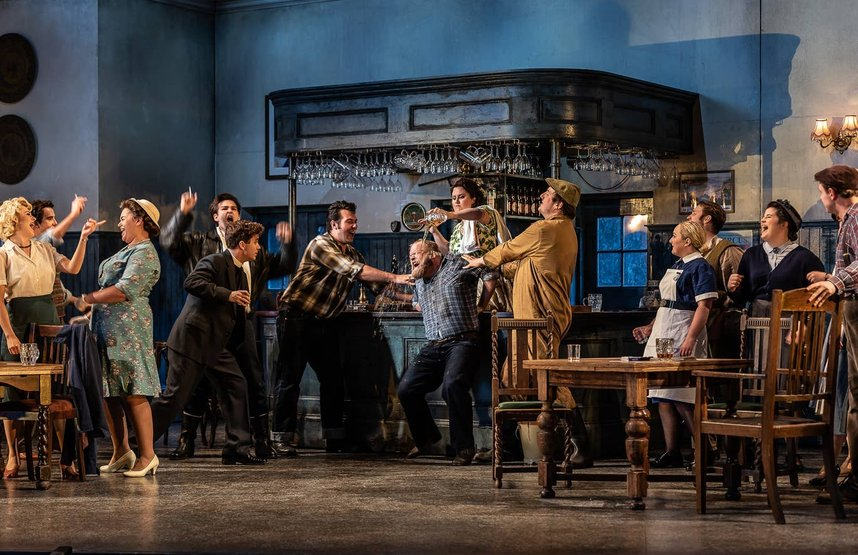 Brenden Gunnell and the chorus in The Bartered Bride at Garsington. Photo: Clive Barda